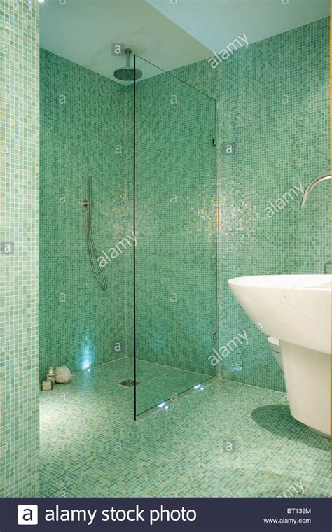 glass screen on walkin wetroom shower in modern green