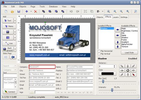 Gift Card Software - mojosoft software for design and print high quality business cards