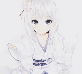 white hair short hair snow shirayuki purple eyes white kimono hair ornaments heart