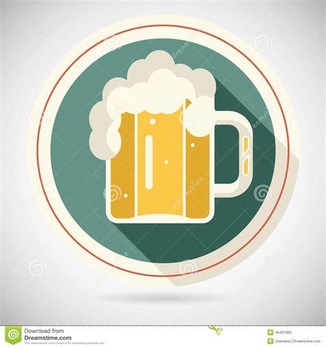 mug design template in vector beer mug with foam retro symbol alcohol icon long stock