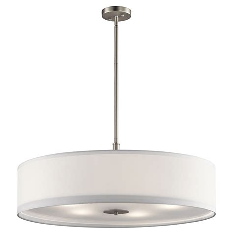 kichler pendant lighting kichler 42196ni brushed nickel drum lighting pendant kic