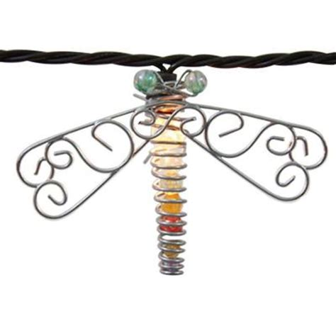 Dragonfly Outdoor Lights 10 Light Clear Beaded Dragonfly String Light Set Kf01475 The Home Depot