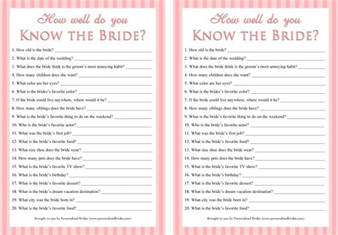 bridal shower trivia questions template how well do you the downloadable bridal shower bridal shower ideas