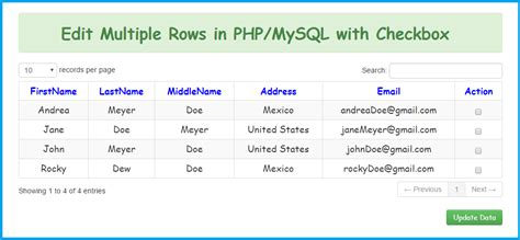 update rows in php mysql with checkbox free