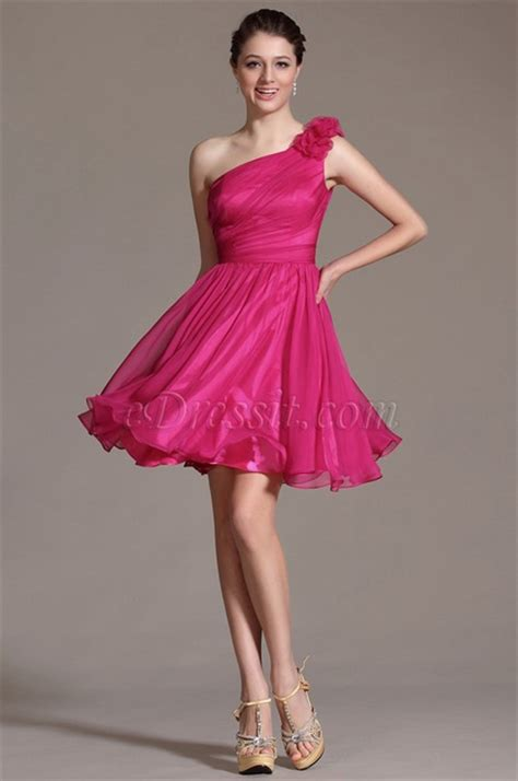 floral  shoulder hot pink bridesmaid dress party dress
