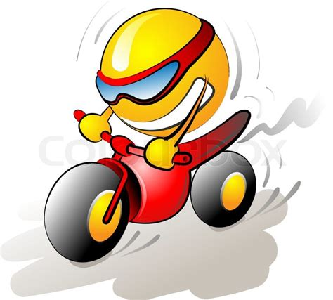 Motorrad Smiley by Smiley Character Riding A Bike Stock Vector Colourbox