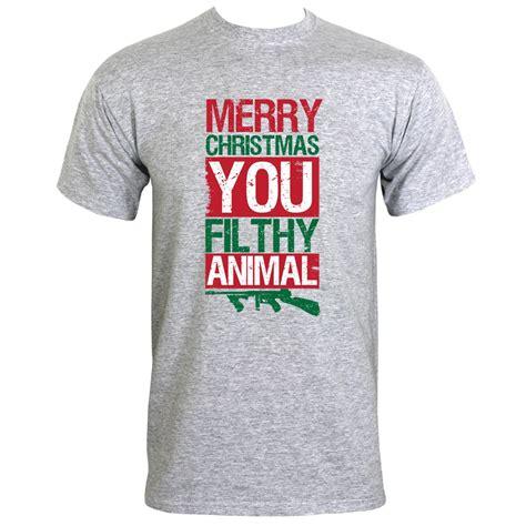T Shirt Merry merry you filthy animal s grey t shirt ebay