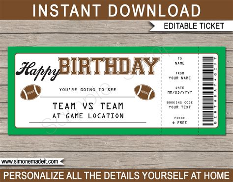 Football Game Birthday Gift Ticket Printable Ticket To The Football Free Football Ticket Template