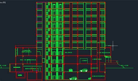 Businesses Hotel With Swimming Pool 2D DWG Design Section