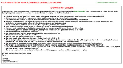 Experience Letter As A Cook Cook Restaurant Work Experience Certificate