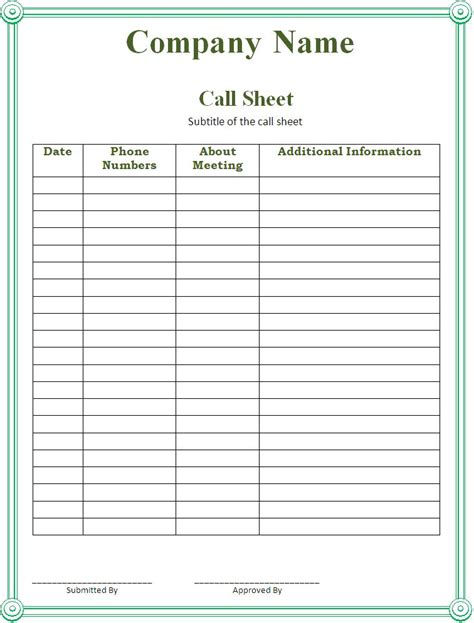 call sheet template pin call sheet template on
