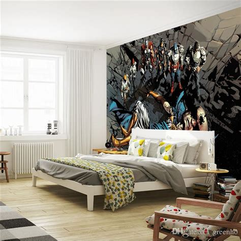 justice league bedroom decor justice league photo wallpaper superhero wall mural custom wallpaper art room decor