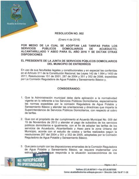 resolucion medios 2016 distritales resolucion 002 de 2016 incremento tarifas