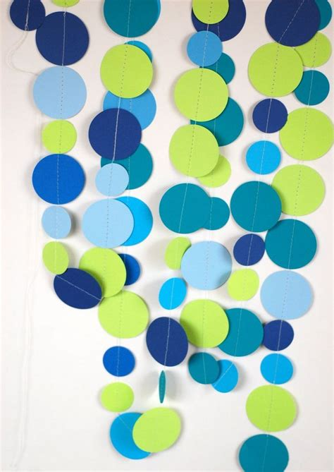 Make Paper Garland - make a paper garland with large paper dots in teal blue