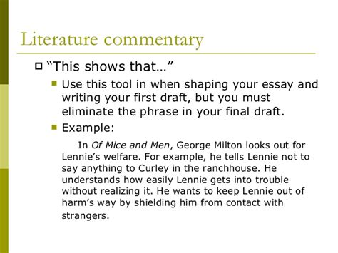 Writing A Literature Essay by What Is Commentary