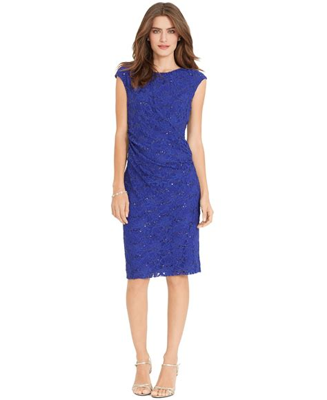 Rl Dress Glowing Blue lyst by ralph sequined lace sheath dress in blue
