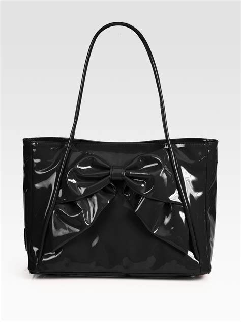 Valentino Lacca Bow Shopper by Valentino Lacca Betty Bow Tote Bag In Black Lyst