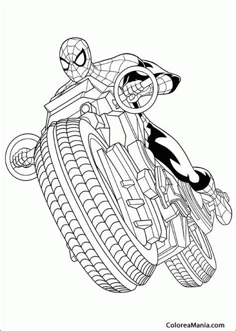 dibujos para colorear de spider man gratis colorear spiderman en moto spiderman dibujo para