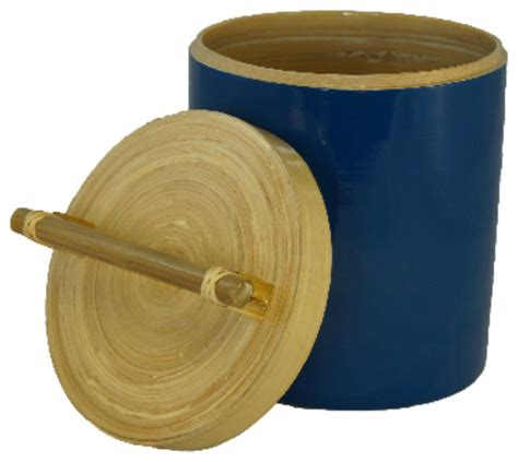 bamboo canister with bamboo handle 64 oz small open