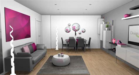 agréable Decoration Salle A Manger Gris Et Blanc #1: sejour-contemporain-murs-blancs-gris-canape-cuir-gris-mobilier-laque-touches-fuchsia-2-1.jpg