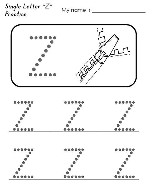 Letter Worksheet For Kindergarten letter z worksheets for preschool kindergarten printable