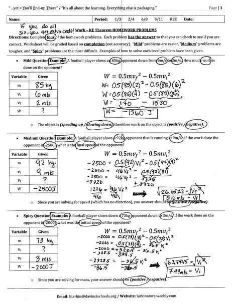 Work Power And Energy Problems Worksheets Energy Work And Power Worksheet Answer Key