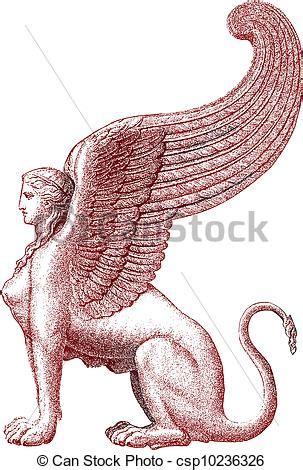 mitologia persiana vector esfinge estatua vector ilustraci 243 n stock
