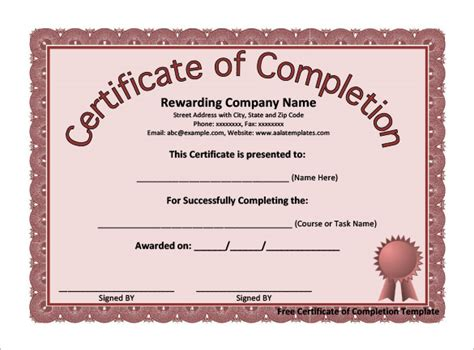 free certificate of completion templates completion certificate templates 40 free word pdf psd