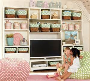 For a unified effect choose matching baskets and buckets for playroom