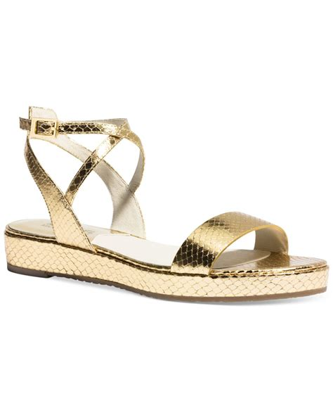 metallic flatform sandals lyst michael kors michael flatform sandals in