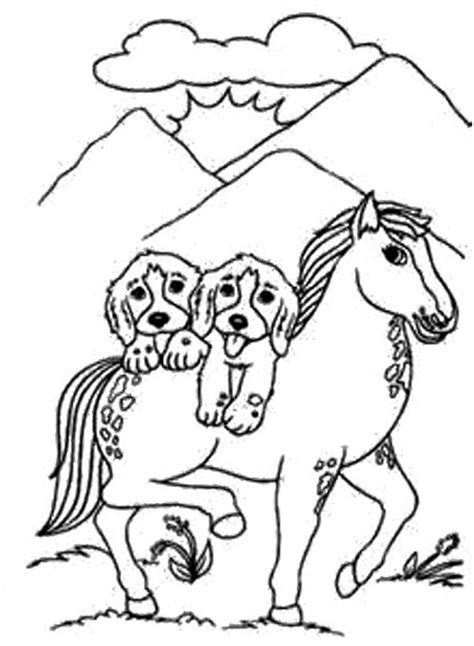 Coloring Pages Of Horses And Puppies | dog and horse coloring page dog pinterest horse