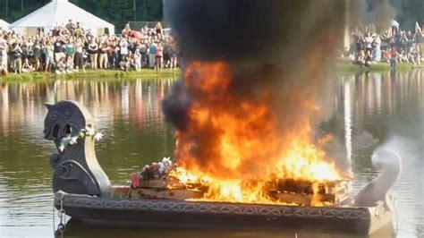 fire boat funeral gwar s oderus urungus set ablaze in viking funeral pyre as