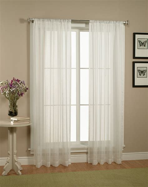 Home linen collections pair set of white sheer curtains window treatments panels ebay