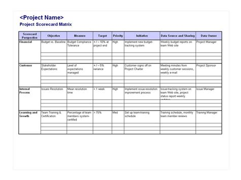 project scorecard template best resumes