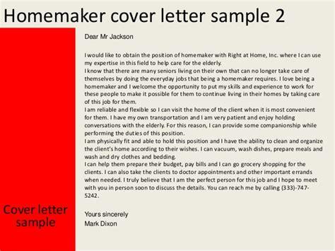 Homemaker Resume Exle by Homemaker Cover Letter