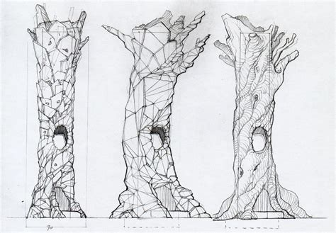 line drawing laureyssens zwerm tree design process