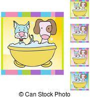 bagno cuccioli cucciolo bagno clipart vettoriale cerca illustrazioni