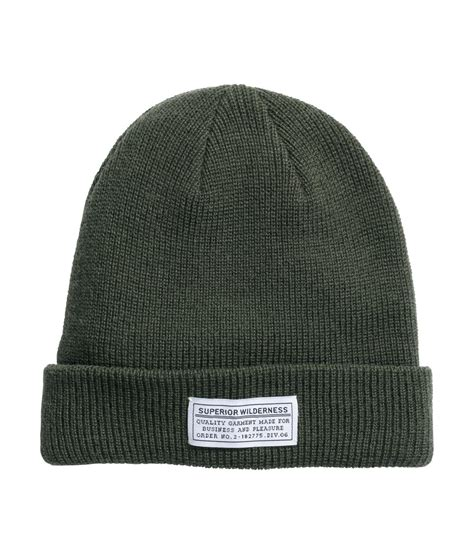h m knit h m knitted hat in green for lyst