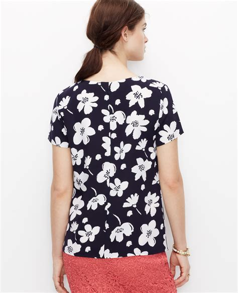 Blouse Wanita Navy Printed graphic floral print blouse in blue lyst