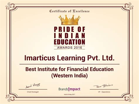 Indian Institute Of Finance Distance Mba by Imarticus Learning Wins Award For Best Institute For