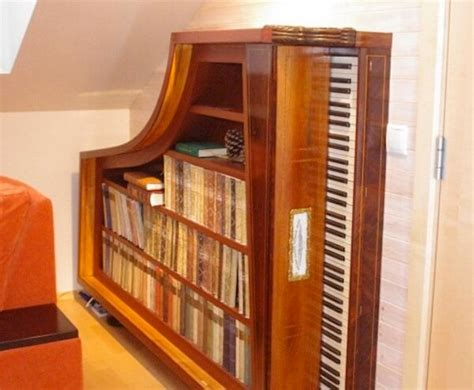 Double Bed With Bookcase Headboard Used Pianos Repurposed Into Home Decor Masterpieces