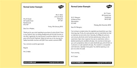 letter layout ks3 formal letter exles ks2 formal writing exle texts