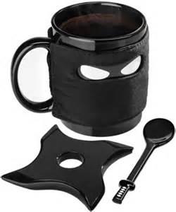 Ceramic Coffee Mugs ninja mug with samurai spoon and shuriken coaster