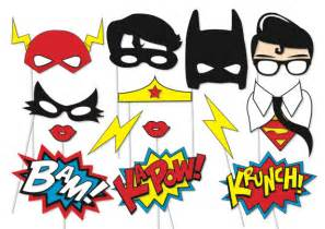 superhero photo booth party props 14 piece printable