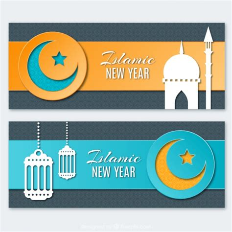 free vector new year banner islamic new year banners vector free