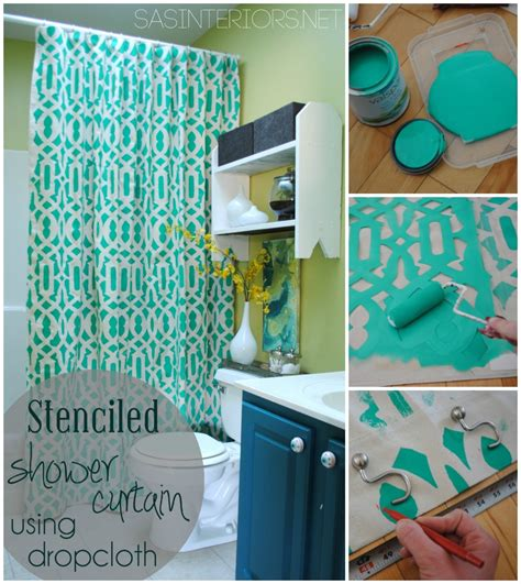 how to make a curtain into a shower curtain diy stenciled shower curtain using drop cloth jenna burger
