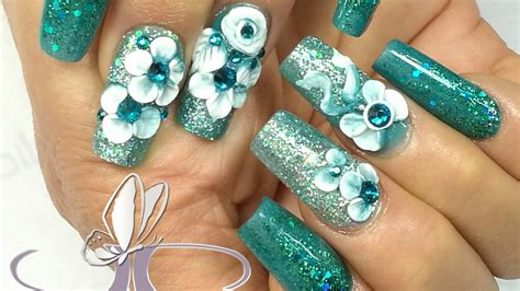 imagenes de uñas de acrilico color turquesa u 241 as acrilicas turquesa colaboraci 211 n chusnails youtube