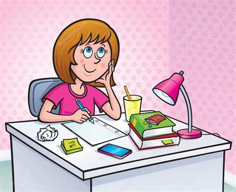 imagenes animadas haciendo tareas chica que trabaja en una tarea fotos de stock