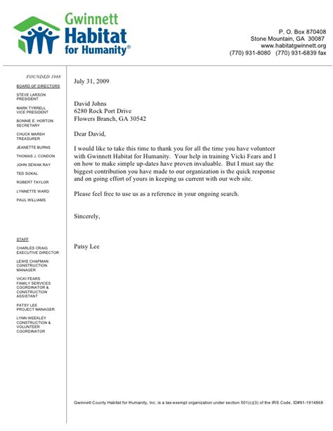 Reference Letter For A Student Volunteer Reference Letter Habitat For Humanity