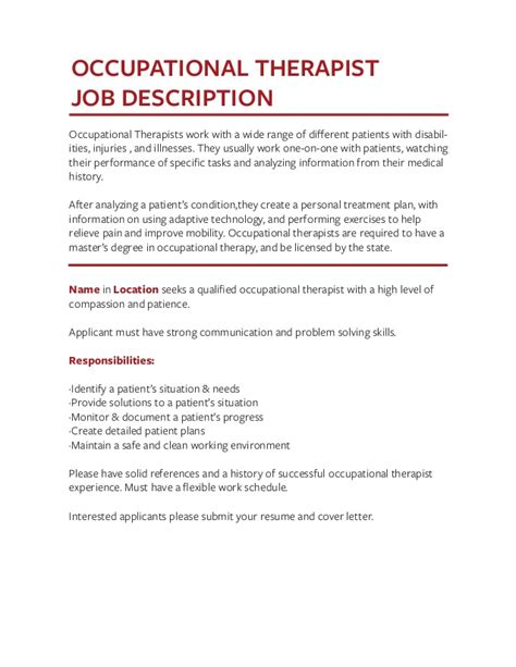 occupational therapist description occupational therapist description ideasplataforma